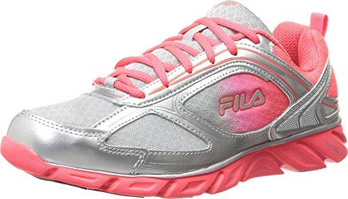 Fila Women's Stride 3 Running Shoe, Metallic Silver/Metallic Silver/Diva Pink, 7.5 M US