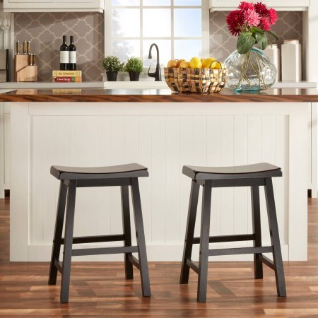 """Ashby Counter Stools 24"""", Set of 2, Black Rubbed"""