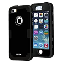 case for iPhone 5S ,Fetrim 3 Layer Shockproof Drop Proof High Impact Armor Silicone Case Protective Cover for Apple iPhone 5 5S SE (Black)