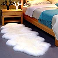 Gracefur Australia Sheepskin Rug Elegant Solid Washable Area Rug Silky Soft Eco-Friendly Chair Cover for Bedroom Living Room Guest Room Plain Area Double Pelt Ivory