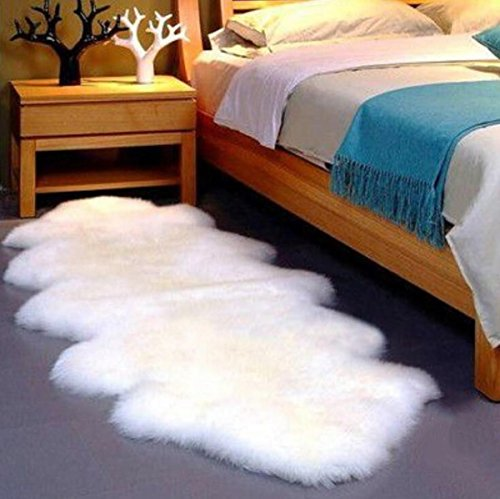 Gracefur Australia Sheepskin Rug Elegant Solid Washable Area Rug Silky Soft Eco-Friendly Chair Cover for Bedroom Living Room Guest Room Plain Area Double Pelt Ivory by Gracefur