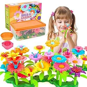 Best Epic Trends 51n3xLAjNYL._SS300_ AOKIWO 146 Pcs Gifts Toys for 3-7 Year Old Girls, DIY Flower Garden Building Toys Set Educational Creative Gardening…