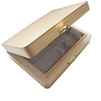 Hemobllo Wooden Specimen Slide Storage Box 26 Slot Plant Insect