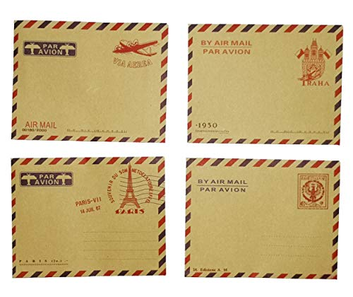 ma zong zhou AirMail Vintage Kraft Paper Envelopes for Postcards, Letters, Notes, Weddings, Parties, Holiday, Banquets, Showers, Birthday, Anniversary, (Pack of 40 ) ()