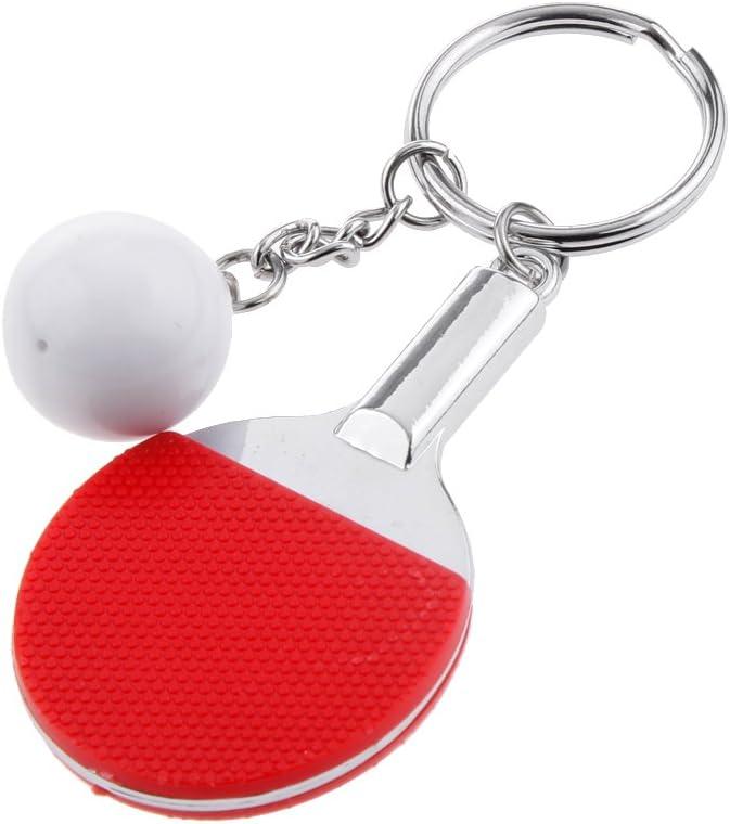 Desconocido Juguetes de Llavero Colgante Tabla de Tenis Ping-Pong la Raqueta Y Bola - Rojo