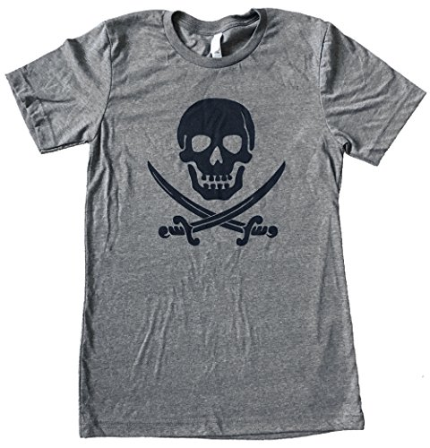 The Bold Banana Men's Pirate Skull and Crossed Swords T-Shirt - XL - Heather Grey (Pirate Skull T-shirt)