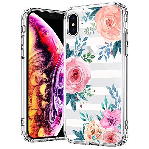 MOSNOVO Case for iPhone Xs/iPhone X, Girls Blossom Stripes Floral Flower Pattern Transparent Clear Design Plastic Back Case with TPU Bumper Case Cover for Apple iPhone X/iPhone Xs