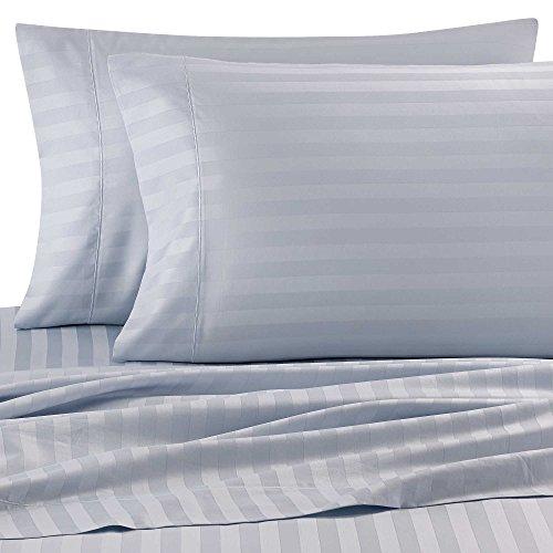 - Wamsutta Damask Stripe 500-Thread-Count PimaCott Queen Sheet Set in Light Blue