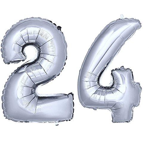 DekoRex® número Globo decoración cumpleaños Brillante para Aire en argentado 40cm de Alto No. 24