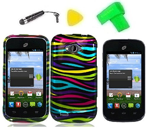 Phone Cover Case Cell Phone Accessory + Extreme Band + Stylus Pen + LCD Screen Protector + Yellow Pry Tool For Straight Talk ZTE Savvy Z750C (Rainbow Zebra)
