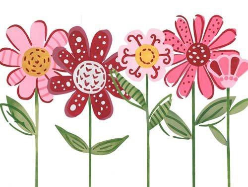Lollipop Flowers Wall Stencil SKU #3604 by Designer Stencils -