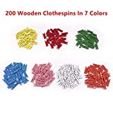 Mini Clothespins, Mini Colored Natural Wooden Clothespins with Jute Twine, Multi-Function Clothespins Photo Paper Peg Pin Craft Clips, 200 Pcs, Mini Size 1.0 inch for Home Arts Crafts Decor by aHeemo