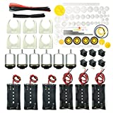 EUDAX 6 Set Rectangular Mini Electric 1.5-3V 24000RPM DC Motor with 84 Pcs Plastic Gears,Electronic Wire, 2 x AA Battery Holder,Motor Mounting Bracket,Boat Rocker Switch for DIY Science Projects
