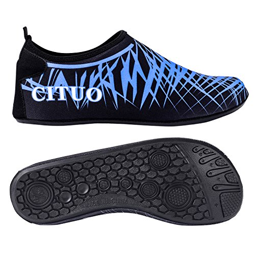 UPhitnis Quick-Dry Männer Frauen Kinder Aqua Socken Schuhe, leichte Haut Schuhe, Barfuß Unisex Wasser Schuhe für Beach Surf Yoga Schwimmen Schnorcheln Walking Lake Garden Park Fahrübung Blau