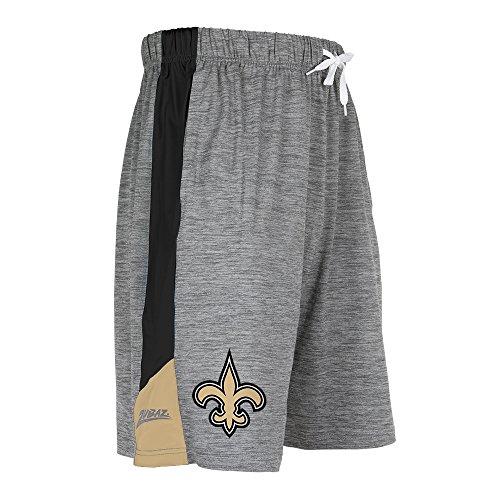 Zubaz NFL New Orleans Saints Men's Space Dye Shorts, Gray, Small -