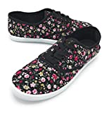 EASY21 Women Canvas Mesh Upper Fashion Falts Ballet Shoes RANGE05,Black Floral,9
