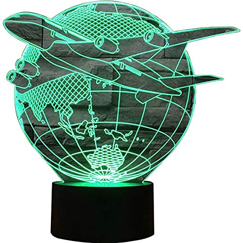 Jiahai 3D Illusion Airplane Fly Out of The Earth Shaped Soft Multi-Colored Change LED Table Desk Night Light for Home Bedroom Decorations Airplane USB Powered or Battery Powered