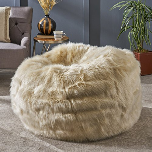 Great Deal Furniture 304241 Laraine Furry Glam Taupe Faux Fur 3 Ft. Bean Bag,