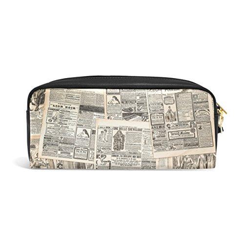 Bleistift Fall, alte Zeitung Vintage Retro Gedruckt Reise Make-up Pouch Large Wasserdicht Leder 2Fächer für Mädchen Jungen Damen Herren