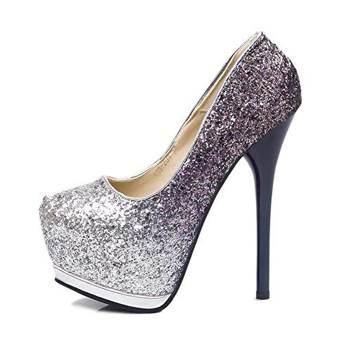 Dames Glitter Punt Teen Platform Hoge Hak Stiletto Jurk Bruiloft Pump Schoenen Blauw