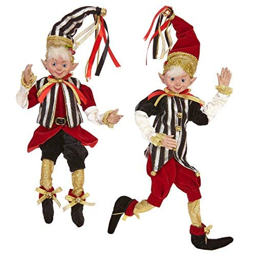 16 Inch Tall Set of 2 Posable Elves, 2017 Christmas Elves in Red, Black and Gold -