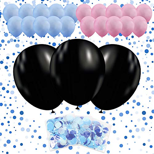 36'' Gender Reveal Balloon with Confetti 3 PACK | 3 Jumbo Black Balloons | 10 Pink Balloons | 10 Blue Balloons | 3 Blue Confetti Packs | Ultimate Party Supplies -