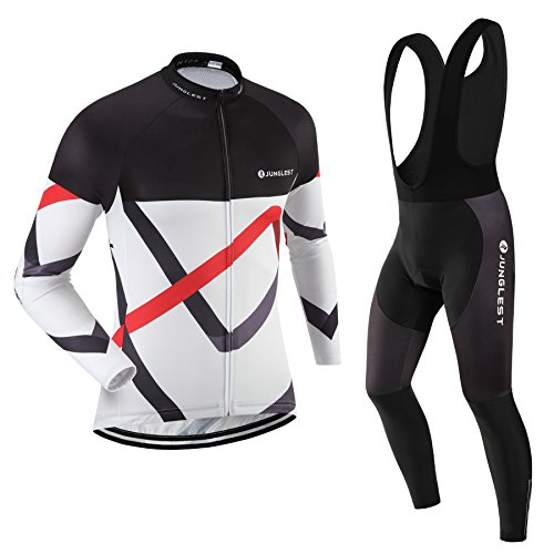 ((3D pad)(Type:Set(Black Bib) size:L) perspiration vest Cycling Jerseys Fashion Long Sleeve performance For Men Jersey breathable windbreaker)