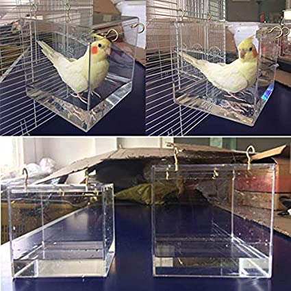 FidgetGear Spacious Acrylic Bath House Bird Cage Bird Bath for Cockatiels Parrots Parakeets