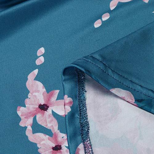 Faldas Largas Mujer Verano Rayas, Zolimx Mujeres de Manga Larga Una Línea de Ropa de Impresión Floral Suelta Vestido de Fiesta Casual Vestido Verde