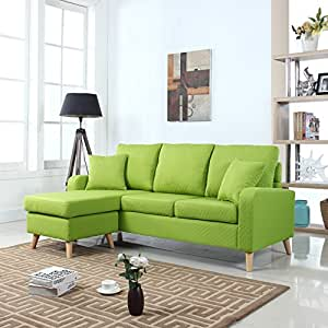 Mid Century Modern Linen Fabric Small Space Sectional Sofa with Reversible Chaise (Green)