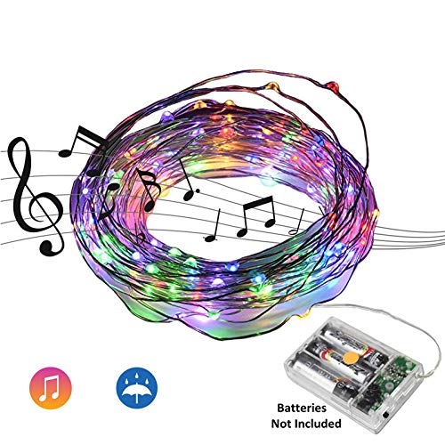 Beilf 32.8ft(10M) Sound Activated Music LED String Lights, Waterproof Copper Wire Multi-Color 100LEDs -11 Modes AA Battery -