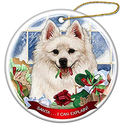 - Cheyan American Eskimo Dog Porcelain Hanging Ornament Pet Gift Santa I Can Explain for Christmas Tree and Year Round