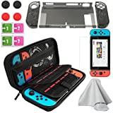 Accessories Kit for Nintendo Switch Hard Shell Travel Carrying Case Ultra Slim Docked PC Cover Screen Protector Thumb Grips Caps (5 In 1)