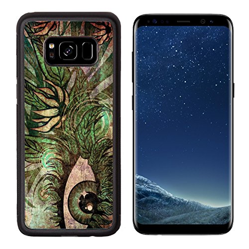 Luxlady Premium Samsung Galaxy S8 Aluminum Backplate Bumper Snap Case IMAGE ID: 18353061 Grunge surreal female eye with green leaves and colorful floral
