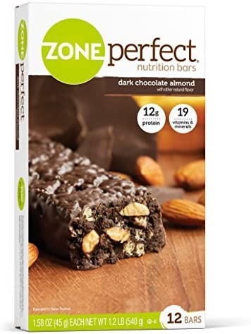 Dark, All-Natural Nutrition Bars, Dark Chocolate Almond, 12 Bars, 1.58 oz 45 g Each by Zone Perfect
