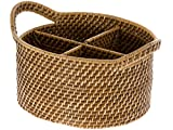 "KOUBOO 1020004 Laguna Oval Rattan Utensil and Bottle Basket, 9.75"" x 8.25"" x 6.25"", Honey Brown"