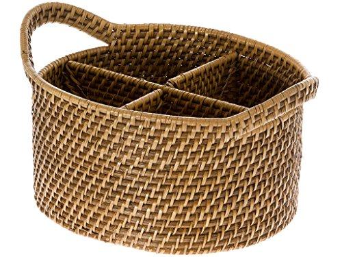 Oval Utensil - KOUBOO 1020004 Laguna Oval Rattan Utensil and Bottle Basket, 9.75