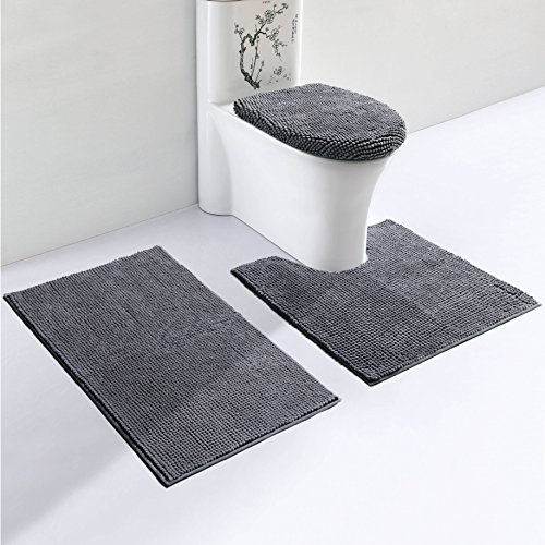 VDOMUS Soft Toilet Rug 3 Pieces Set, Non Slip Bathroom Rugs, U-Shaped Toilet Mat, Elongated Toilet Lid Cover (Grey) (Seat Lid Standard Toilet Cover)