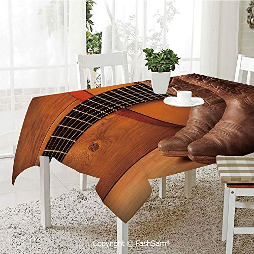 Party Decorations Tablecloth American Country Music Theme Guitar Instrument and Cowboy Shoes On Wood Image Decorative Kitchen Rectangular Table Cover (W60 xL104)