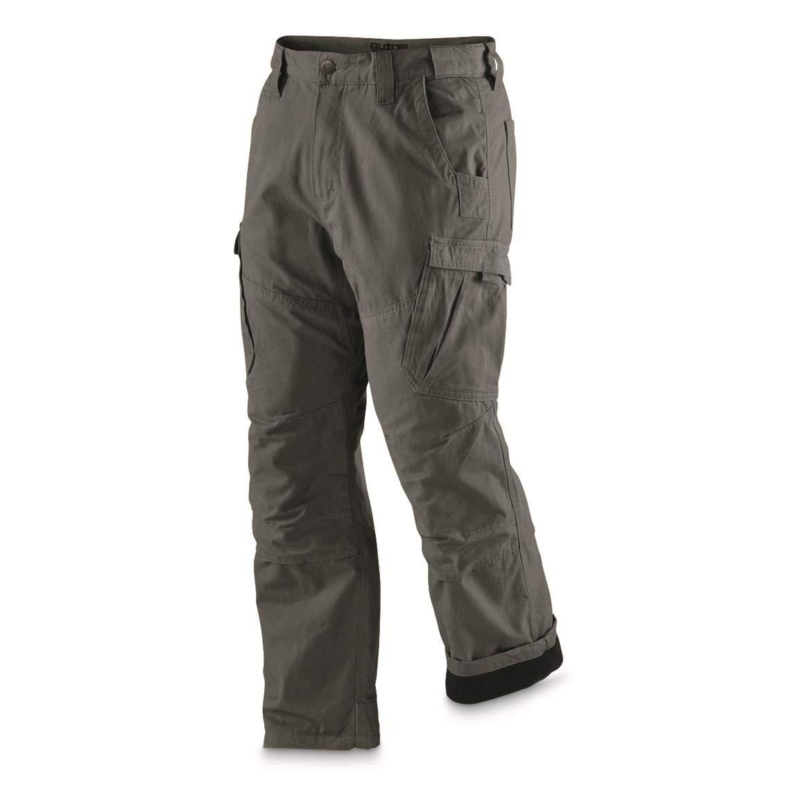 Guide Gear Men's Fleece-Lined Canvas Cargo Work Pants, Graphite Gray, W36 L34 by Guide Gear
