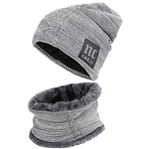 Knit Fashion Scarf - Fantastic Zone 2-Pieces Winter Beanie Hat Scarf Set Warm Knit Hat Thick Fleece Lined Winter Hat & Scarf For Men Women,Grey-2,One Size