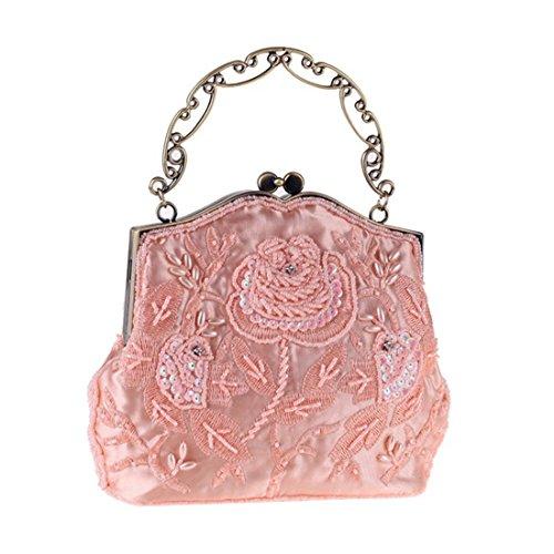 JESSIEKERVIN Bag Bag Beaded Handbag Polyester Bag Pink Evening Vintage Embroidery Evening r6rpnA