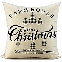 Christmas Farmhouse Home Decor FIBEROMANCE Christmas Pillow Cover 18×18 inch Farmhouse Christmas Decorative Throw Pillow Cover Christmas Décor Xmas… farmhouse christmas pillow covers
