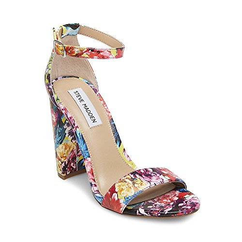 Steve Madden Women's Carrson Heeled Sandal, Flower Multi, 8 M (Multi Buckle Sandals)