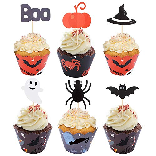 Xinzistar 48 Pieces Halloween Cupcake Toppers Wrappers for Halloween Party Decorations Supplies