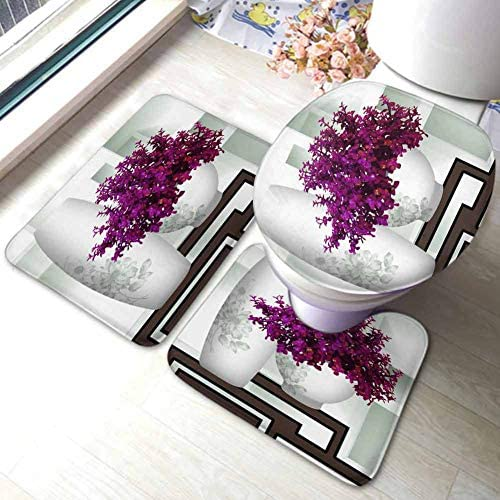 3 Piece Rug Set Non-Slip Bathroom Rug Contour Spring Purple Bouquet of Lilacs in A Vase and Glasses On The Kitchen Table by The Wall Home Interior U-Shaped Toilet Mat Toilet Lid Cover / 3 Piece Rug Set Non-Slip Bathroom Rug Contour...