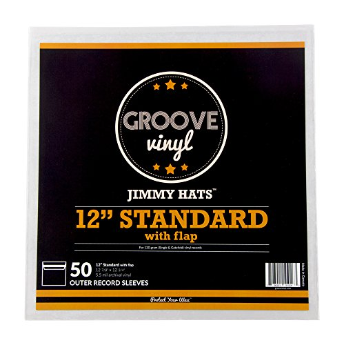 """50 Vinyl Record Sleeves - 12.875"""" x 12.75"""" 5.5 Mil Crystal Clear Album Sleeves with Resealable Non-Adhesive Flap - Fits 12 Inch Single LPs - Protect Your Record Collection"""