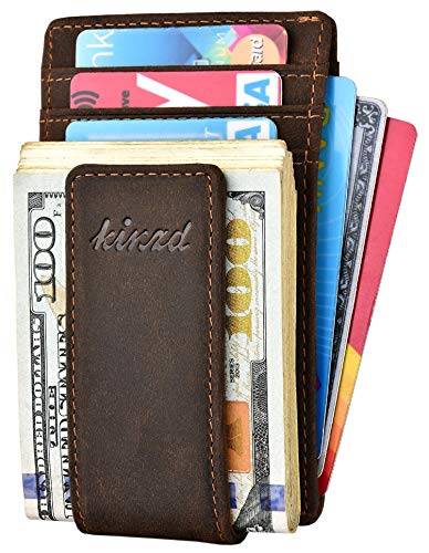 Front Pocket Leather Wallet with Money Clip