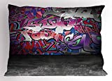 Ambesonne Graffiti Decir Pillow Sham by, Urban Grunge Street Art Wall Backdrop with Hip Hop Funk Figures Design, Decorative Standard Size Printed Pillowcase, 26 X 20 Inches, Purple Silver