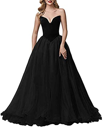 e8b4741b2dc6 V Neck Prom Gown for Women Tulle Velvet Evening Dresses Backless A-line Formal  Ball